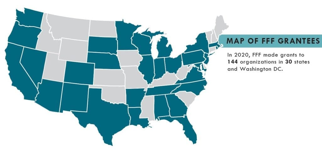 2020 FFF Map Of Grantees. In 2020, FFF made grants to 144 organizations in 30 states.